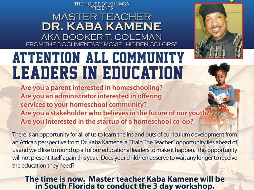 Register Now! African Perspective Homeschool Co-op starting in Florida with Dr. Kaba Kamene