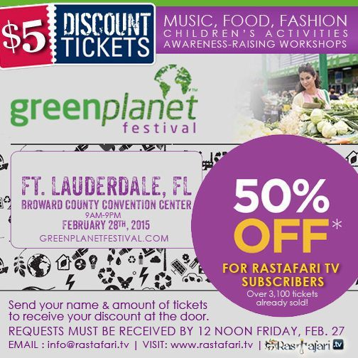 50% off Tickets ($5 for RTV Subscribers) | Green Planet Festival | Fort Lauderdale, FL | Sat. Feb., 28