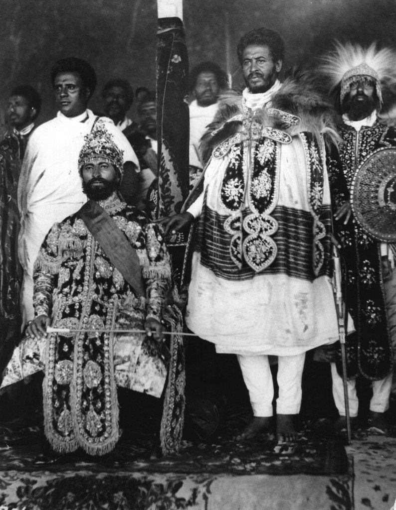 Emperor of Ethiopia Haile Selassie I (1891 - 1975) seated in state in Addis Ababa with his courtiers in elaborate national dress. (Photo by Hulton Archive/Getty Images)