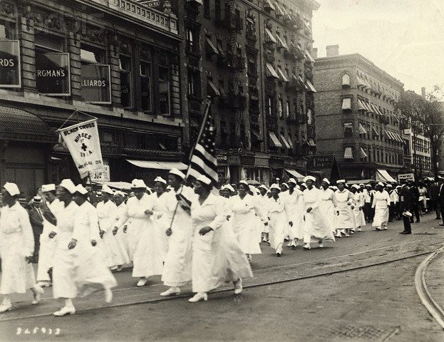 "01 Aug 1922, Manhattan, New York, New York, USA --- Photo shows the Black Cross Nurses in the giant parade through Harlem which today opened the thirty-day annual world convention of the Universal Negro Improvement Association, backing the ""Back to Africa movement"" and the ""Black Star Line"" in New York. --- Image by © Underwood & Underwood/CORBIS"