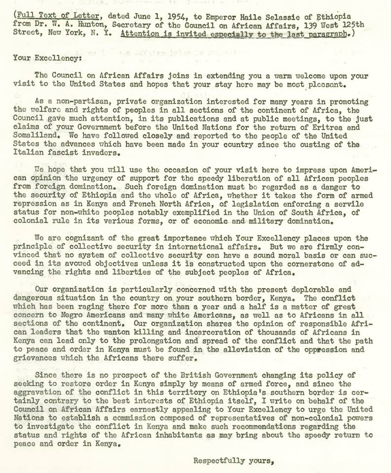 1954, June 1: Letter from Council on African Affairs to Emperor Haile Selassie of Ethiopia