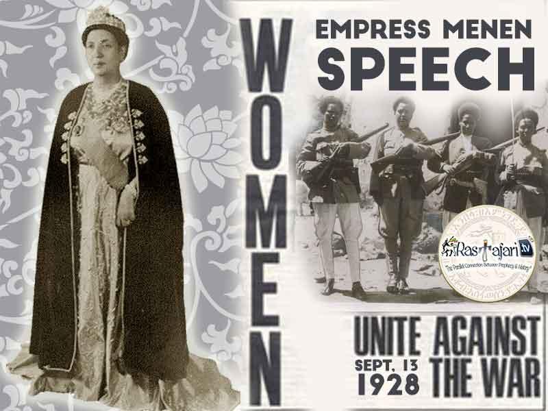 1928 Sept. 13: Empress Menen Speech World Women's Association on aggression of Italy