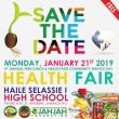 Save The Date!  Jan. 21, 2019 4th Annual Free Health Fair Haile Selassie Technical High School, JA